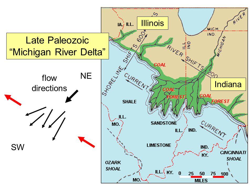"Late Paleozoic ""Michigan River Delta"" Illinois Indiana flow directions SW NE"