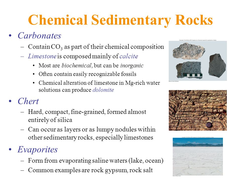 Chemical Sedimentary Rocks Carbonates –Contain CO 3 as part of their chemical composition –Limestone is composed mainly of calcite Most are biochemical, but can be inorganic Often contain easily recognizable fossils Chemical alteration of limestone in Mg-rich water solutions can produce dolomite Chert –Hard, compact, fine-grained, formed almost entirely of silica –Can occur as layers or as lumpy nodules within other sedimentary rocks, especially limestones Evaporites –Form from evaporating saline waters (lake, ocean) –Common examples are rock gypsum, rock salt