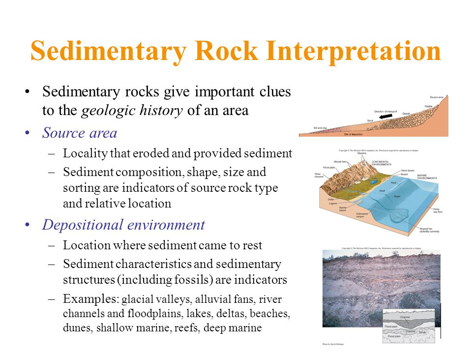 Sedimentary Rock Interpretation Sedimentary rocks give important clues to the geologic history of an area Source area –Locality that eroded and provided sediment –Sediment composition, shape, size and sorting are indicators of source rock type and relative location Depositional environment –Location where sediment came to rest –Sediment characteristics and sedimentary structures (including fossils) are indicators –Examples: glacial valleys, alluvial fans, river channels and floodplains, lakes, deltas, beaches, dunes, shallow marine, reefs, deep marine