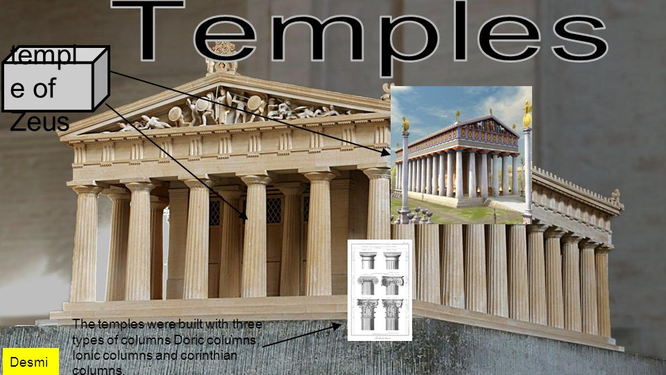templ e of Zeus The temples were built with three types of columns Doric columns, Ionic columns and corinthian columns.