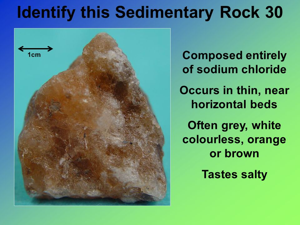 Identify this Sedimentary Rock 30 Composed entirely of sodium chloride Occurs in thin, near horizontal beds Often grey, white colourless, orange or brown Tastes salty 1cm