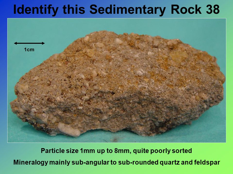 Identify this Sedimentary Rock 38 1cm Particle size 1mm up to 8mm, quite poorly sorted Mineralogy mainly sub-angular to sub-rounded quartz and feldspar