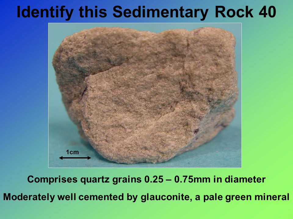 Identify this Sedimentary Rock 40 1cm Comprises quartz grains 0.25 – 0.75mm in diameter Moderately well cemented by glauconite, a pale green mineral