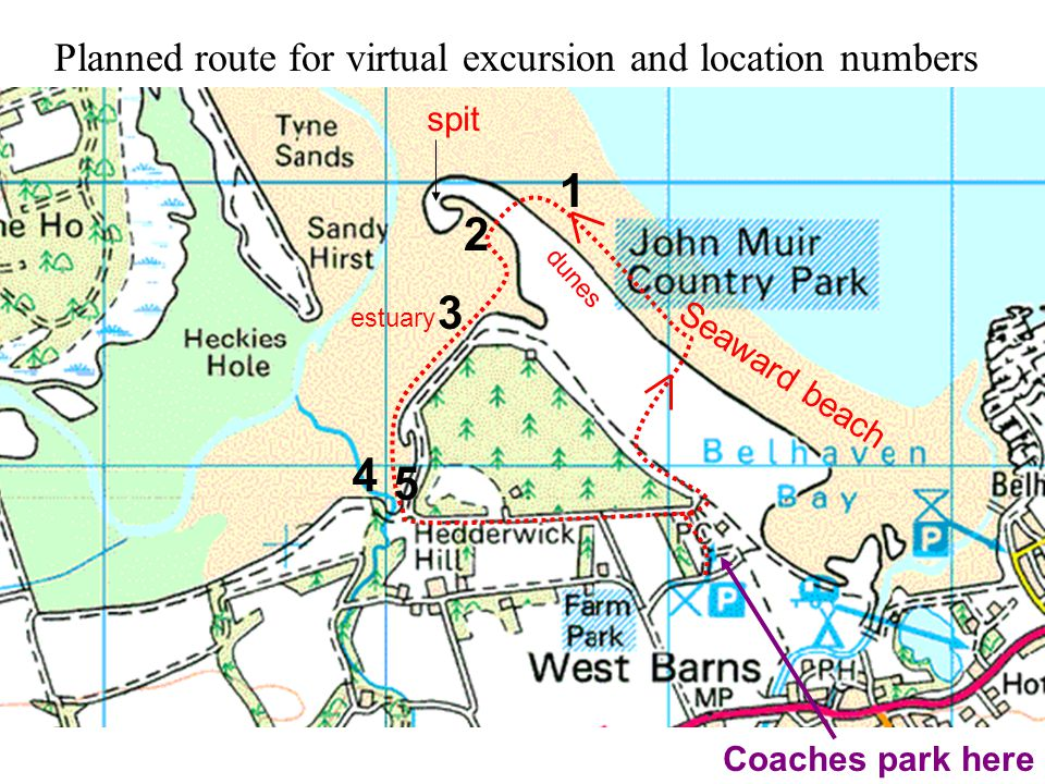 1 2 3 4 Planned route for virtual excursion and location numbers Seaward beach dunes spit estuary 5 Coaches park here