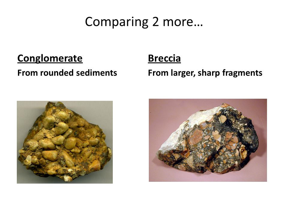 Comparing 2 more… Conglomerate From rounded sediments Breccia From larger, sharp fragments
