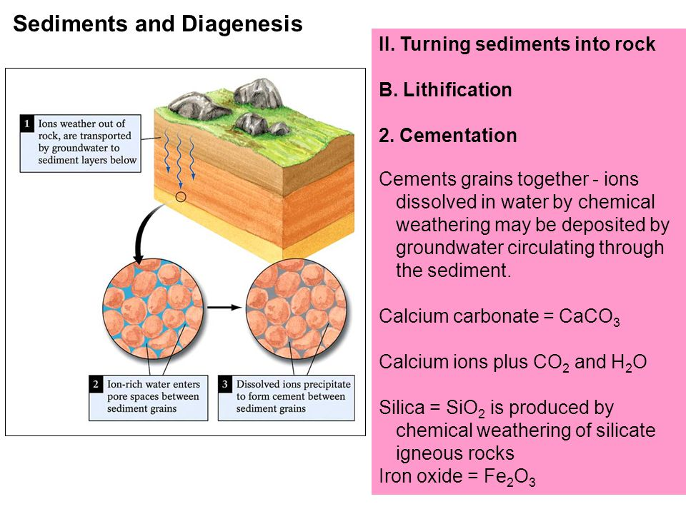 II.Turning sediments into rock B. Lithification 2.