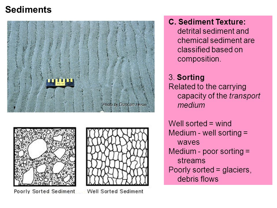 C.Sediment Texture: detrital sediment and chemical sediment are classified based on composition.