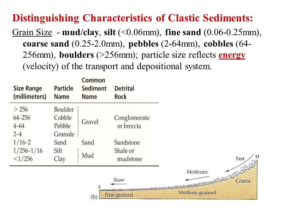 Distinguishing Characteristics of Clastic Sediments: Grain Size - mud/clay, silt ( 256mm); particle size reflects energy (velocity) of the transport and depositional system.