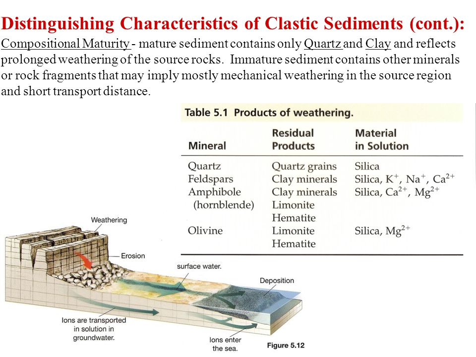 Distinguishing Characteristics of Clastic Sediments (cont.): Compositional Maturity - mature sediment contains only Quartz and Clay and reflects prolonged weathering of the source rocks.