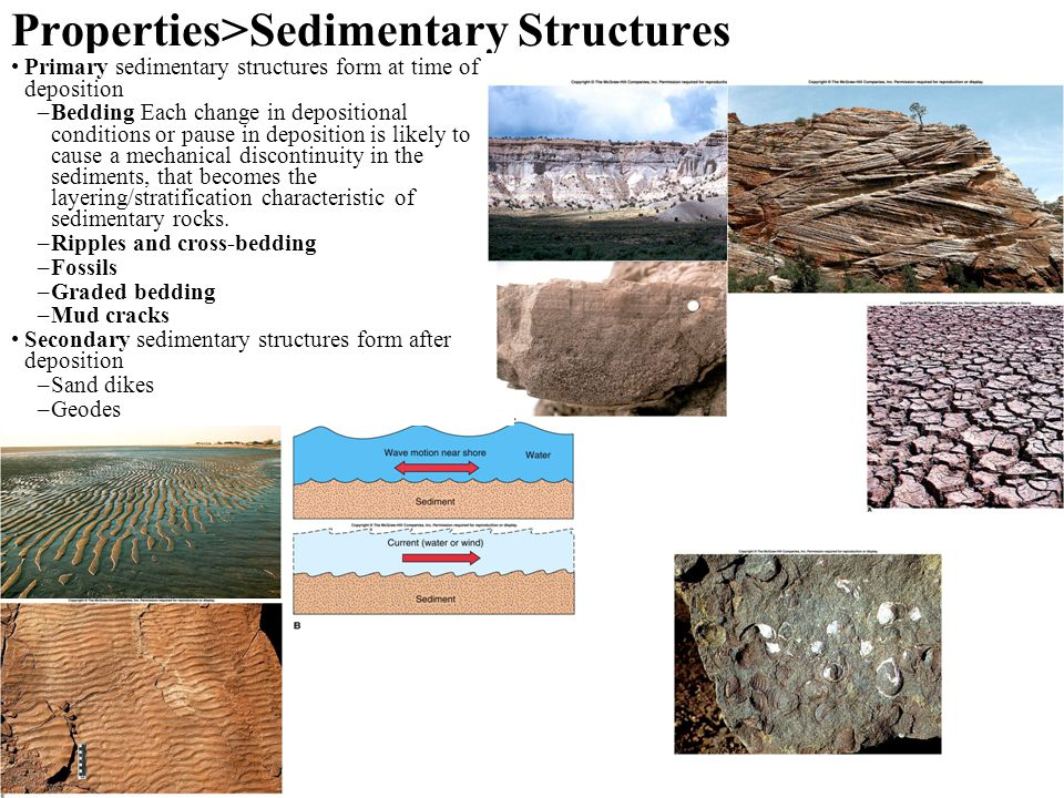Properties>Sedimentary Structures Primary sedimentary structures form at time of deposition –Bedding Each change in depositional conditions or pause in deposition is likely to cause a mechanical discontinuity in the sediments, that becomes the layering/stratification characteristic of sedimentary rocks.