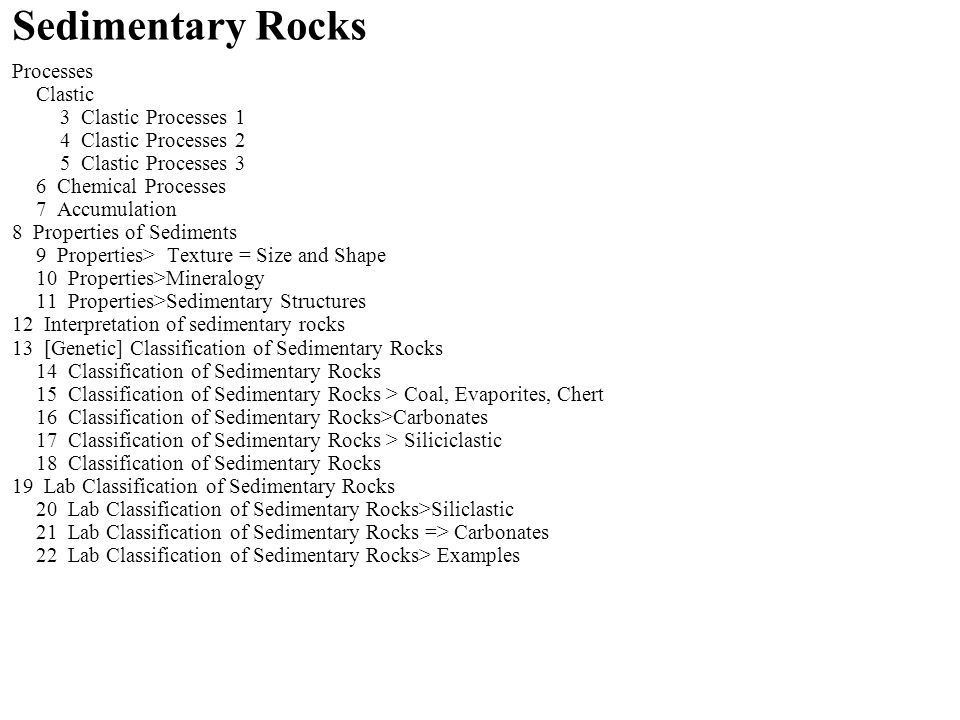 Sedimentary Rocks Processes Clastic 3 Clastic Processes 1 4 Clastic Processes 2 5 Clastic Processes 3 6 Chemical Processes 7 Accumulation 8 Properties of Sediments 9 Properties> Texture = Size and Shape 10 Properties>Mineralogy 11 Properties>Sedimentary Structures 12 Interpretation of sedimentary rocks 13 [Genetic] Classification of Sedimentary Rocks 14 Classification of Sedimentary Rocks 15 Classification of Sedimentary Rocks > Coal, Evaporites, Chert 16 Classification of Sedimentary Rocks>Carbonates 17 Classification of Sedimentary Rocks > Siliciclastic 18 Classification of Sedimentary Rocks 19 Lab Classification of Sedimentary Rocks 20 Lab Classification of Sedimentary Rocks>Siliclastic 21 Lab Classification of Sedimentary Rocks => Carbonates 22 Lab Classification of Sedimentary Rocks> Examples