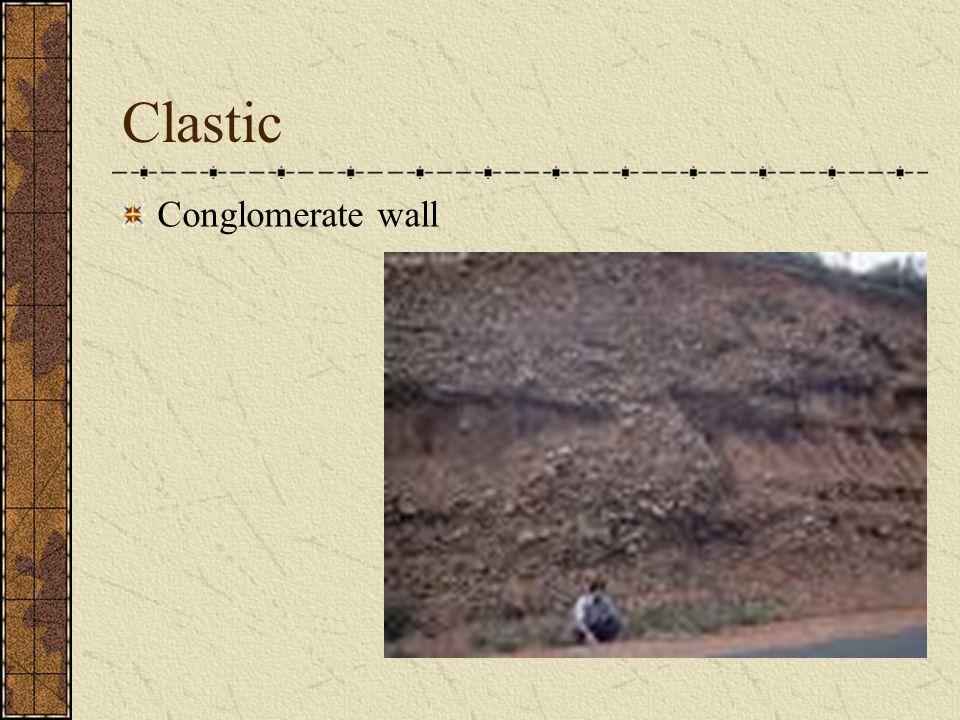 Clastic Breccia: Angular gravel fragments with sharp corners