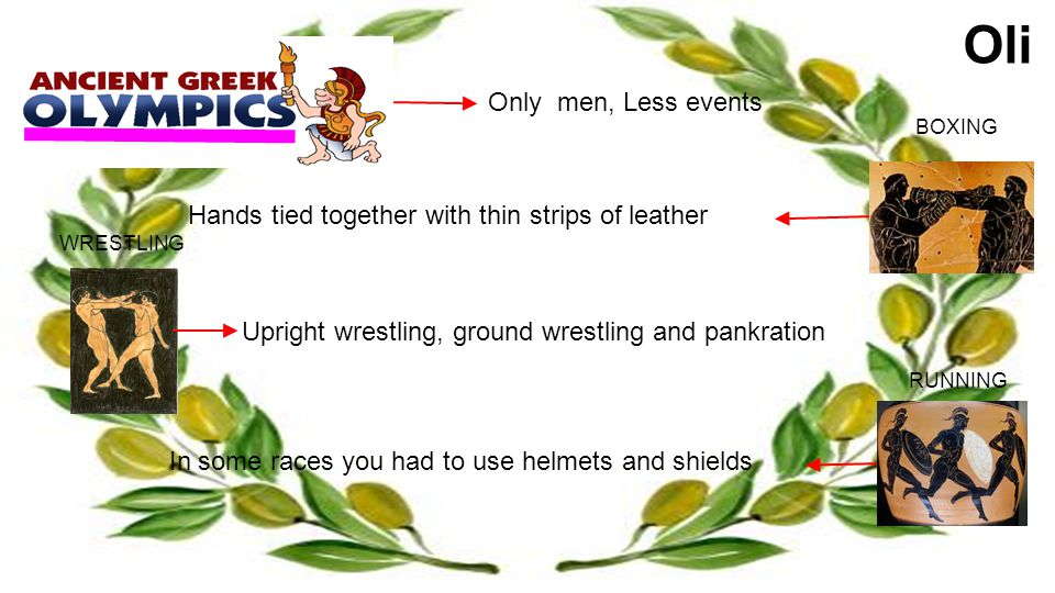 Oli Only men, Less events Hands tied together with thin strips of leather BOXING Upright wrestling, ground wrestling and pankration WRESTLING In some races you had to use helmets and shields RUNNING