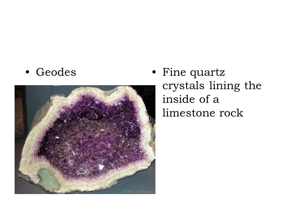 GeodesFine quartz crystals lining the inside of a limestone rock