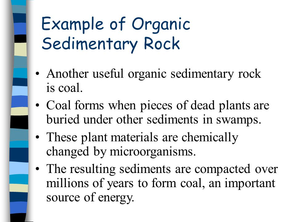Example of Organic Sedimentary Rock Another useful organic sedimentary rock is coal. Coal forms when pieces of dead plants are buried under other sedi