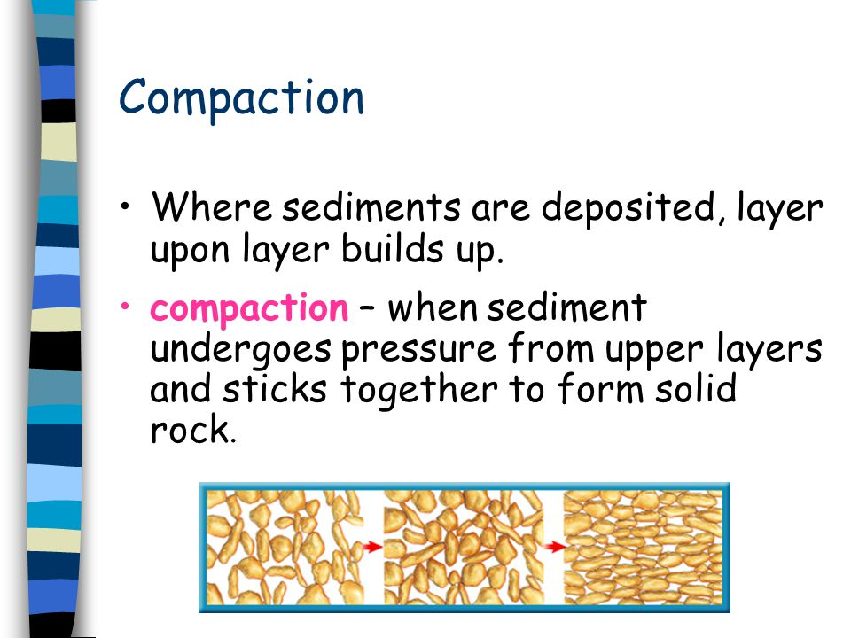 Compaction Where sediments are deposited, layer upon layer builds up. compaction – when sediment undergoes pressure from upper layers and sticks toget
