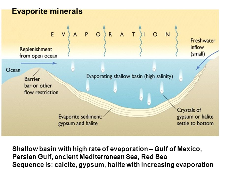 Shallow basin with high rate of evaporation – Gulf of Mexico, Persian Gulf, ancient Mediterranean Sea, Red Sea Sequence is: calcite, gypsum, halite with increasing evaporation Evaporite minerals