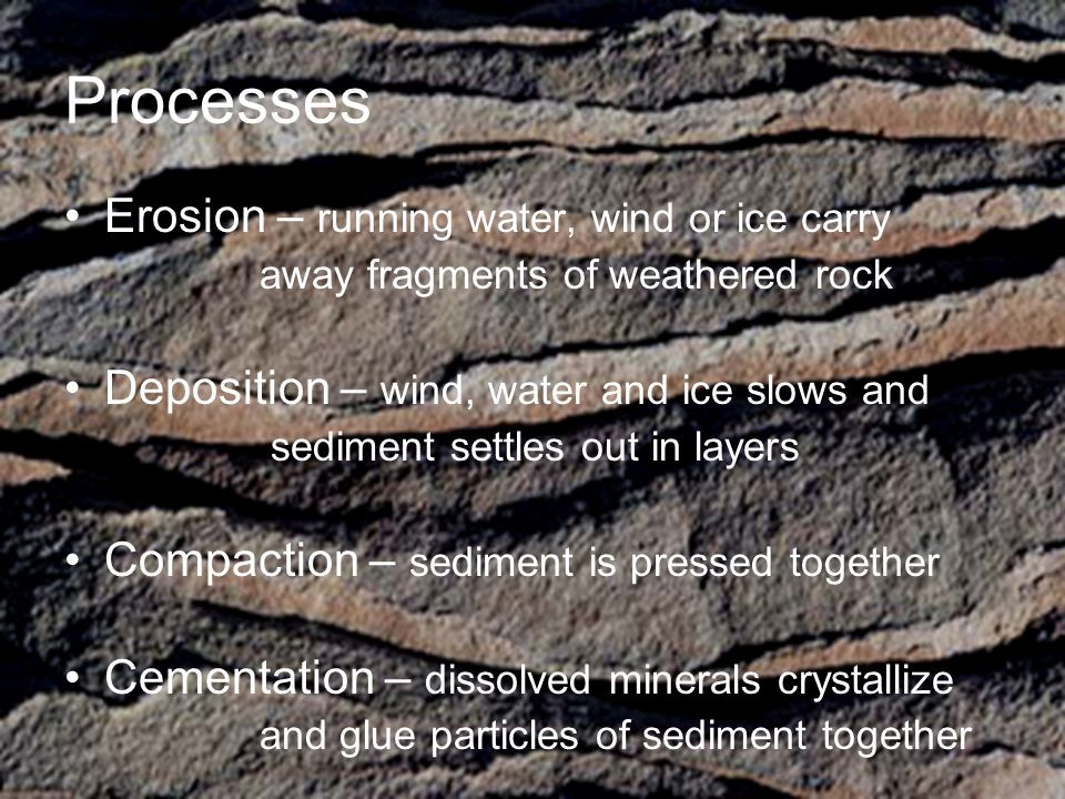 Processes Erosion – running water, wind or ice carry away fragments of weathered rock Deposition – wind, water and ice slows and sediment settles out in layers Compaction – sediment is pressed together Cementation – dissolved minerals crystallize and glue particles of sediment together