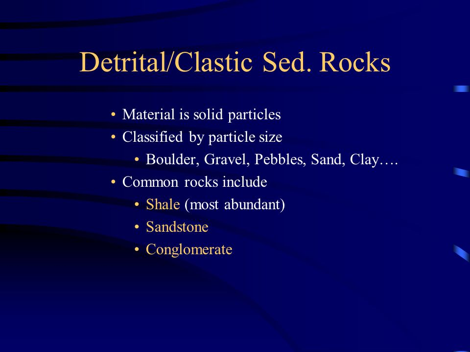 Detrital/Clastic Sed. Rocks Material is solid particles Classified by particle size Boulder, Gravel, Pebbles, Sand, Clay…. Common rocks include Shale