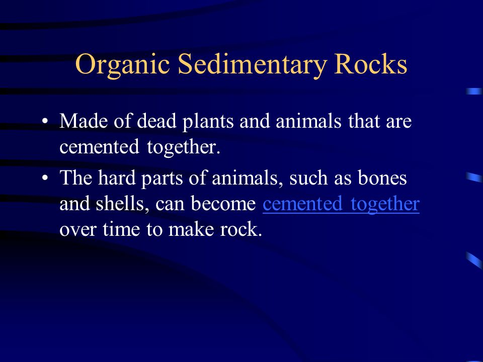 Organic Sedimentary Rocks Made of dead plants and animals that are cemented together. The hard parts of animals, such as bones and shells, can become
