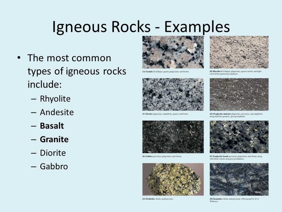 Igneous Rocks - Examples The most common types of igneous rocks include: – Rhyolite – Andesite – Basalt – Granite – Diorite – Gabbro