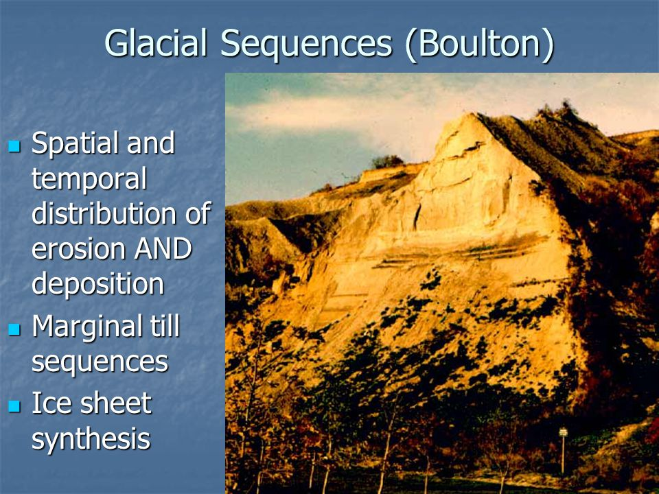 Glacial Sequences (Boulton) Spatial and temporal distribution of erosion AND deposition Spatial and temporal distribution of erosion AND deposition Ma