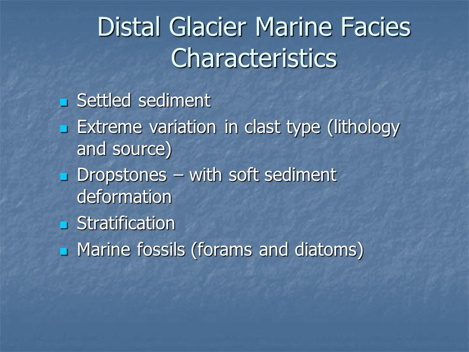 Distal Glacier Marine Facies Characteristics Settled sediment Settled sediment Extreme variation in clast type (lithology and source) Extreme variatio