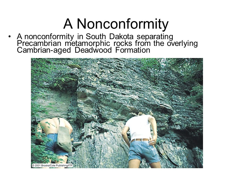 A nonconformity in South Dakota separating Precambrian metamorphic rocks from the overlying Cambrian-aged Deadwood Formation A Nonconformity