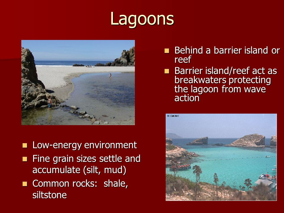 Lagoons Behind a barrier island or reef Behind a barrier island or reef Barrier island/reef act as breakwaters protecting the lagoon from wave action