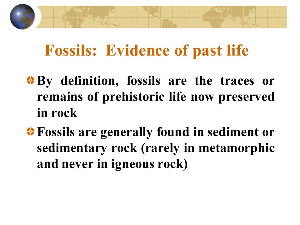 Fossils: Evidence of past life By definition, fossils are the traces or remains of prehistoric life now preserved in rock Fossils are generally found in sediment or sedimentary rock (rarely in metamorphic and never in igneous rock)