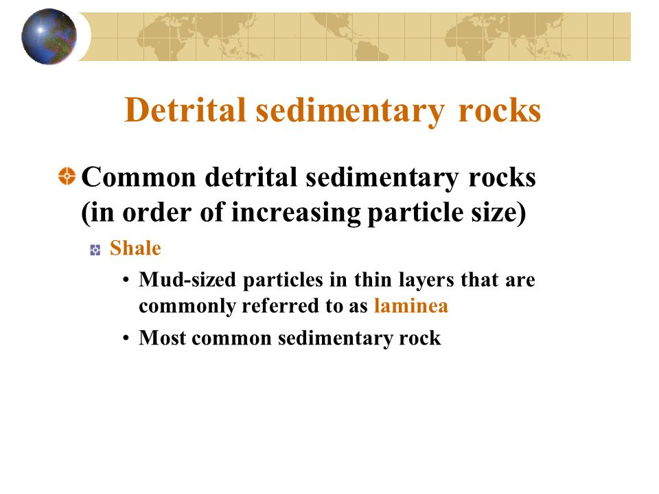 Common detrital sedimentary rocks (in order of increasing particle size) Shale Mud-sized particles in thin layers that are commonly referred to as laminea Most common sedimentary rock