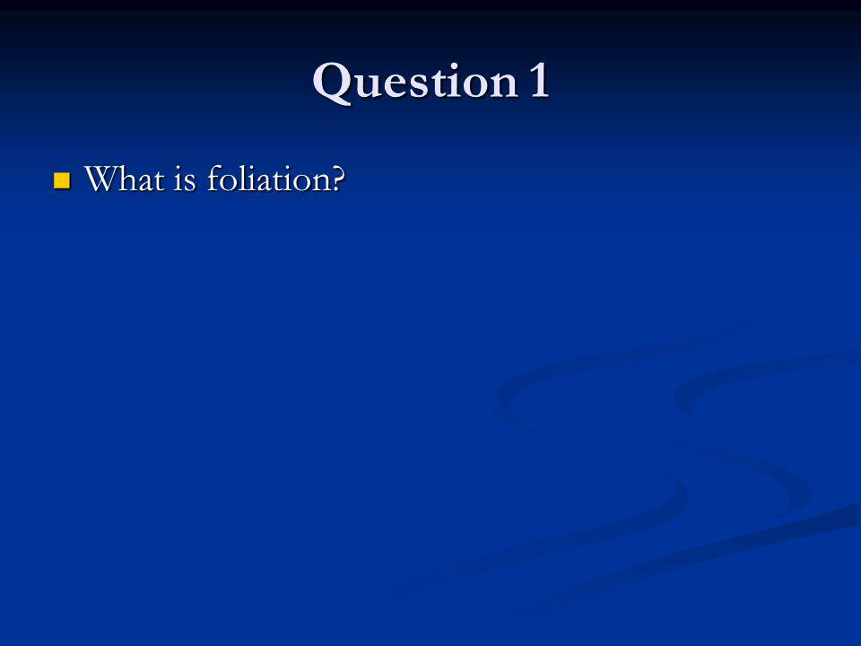 Question 1 What is foliation What is foliation