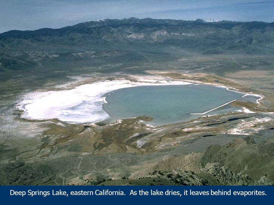 Deep Springs Lake, eastern California. As the lake dries, it leaves behind evaporites.