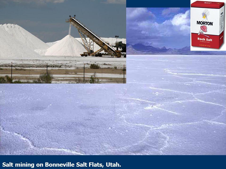 Salt mining on Bonneville Salt Flats, Utah.