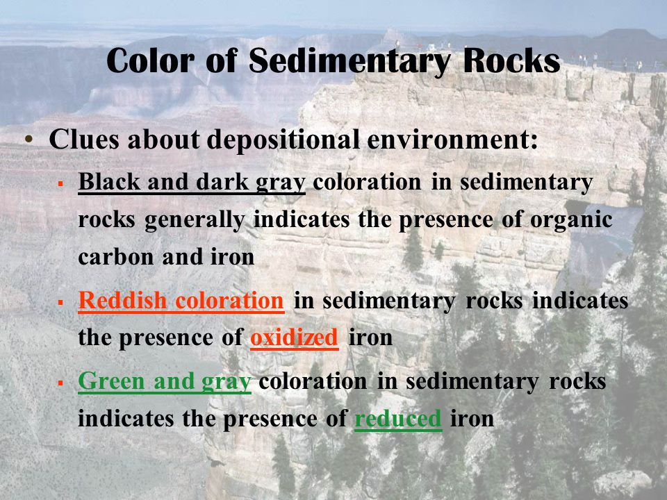Color of Sedimentary Rocks Clues about depositional environment:  Black and dark gray coloration in sedimentary rocks generally indicates the presenc