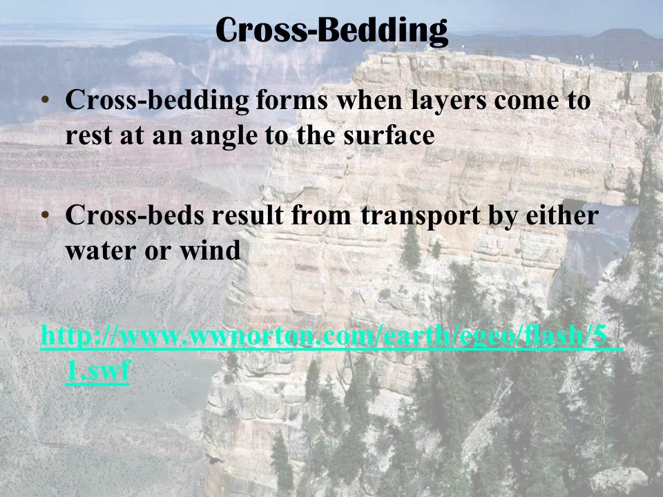Cross-bedding forms when layers come to rest at an angle to the surface Cross-beds result from transport by either water or wind http://www.wwnorton.c