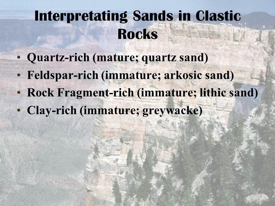 Interpretating Sands in Clastic Rocks Quartz-rich (mature; quartz sand) Feldspar-rich (immature; arkosic sand) Rock Fragment-rich (immature; lithic sa