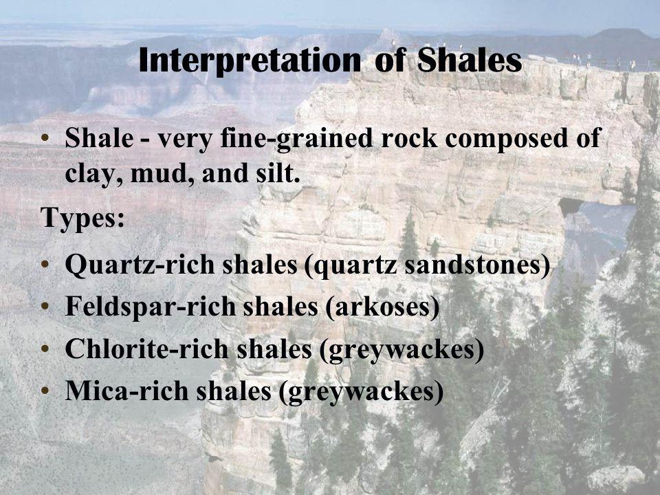 Interpretation of Shales Shale - very fine-grained rock composed of clay, mud, and silt. Types: Quartz-rich shales (quartz sandstones) Feldspar-rich s
