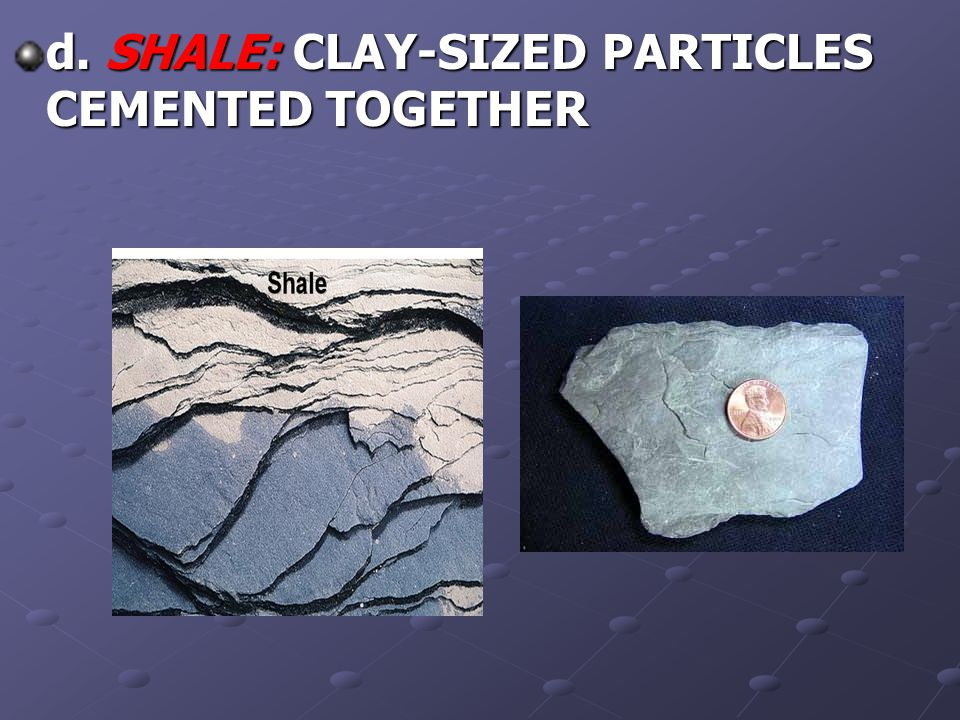 d. SHALE: CLAY-SIZED PARTICLES CEMENTED TOGETHER