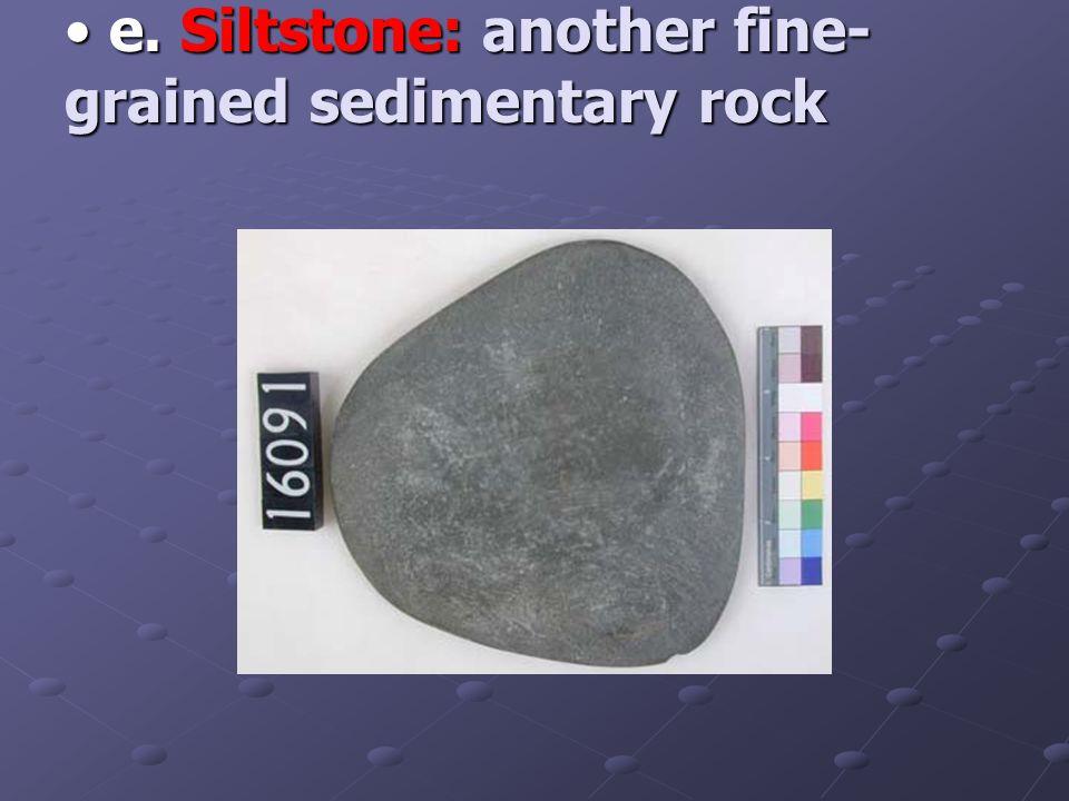 e. Siltstone: another fine- grained sedimentary rock e.