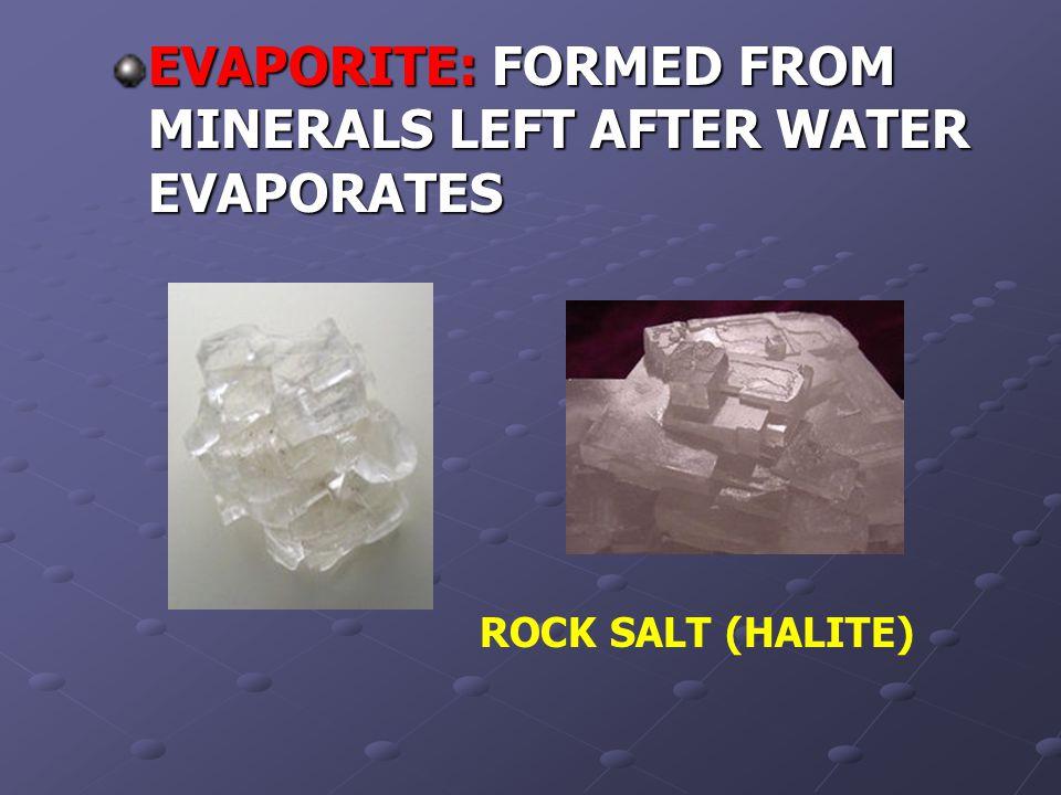 EVAPORITE: FORMED FROM MINERALS LEFT AFTER WATER EVAPORATES ROCK SALT (HALITE)