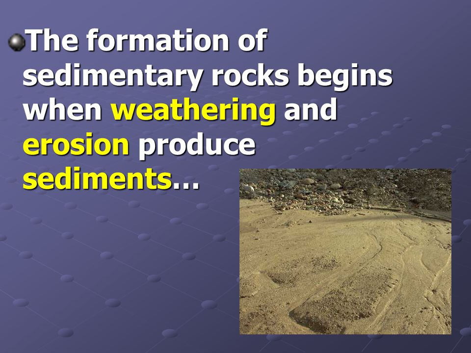 The formation of sedimentary rocks begins when weathering and erosion produce sediments…