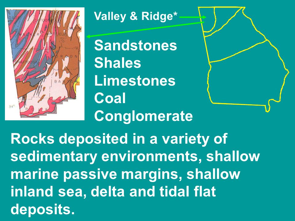 Valley & Ridge* Sandstones Shales Limestones Coal Conglomerate Rocks deposited in a variety of sedimentary environments, shallow marine passive margins, shallow inland sea, delta and tidal flat deposits.