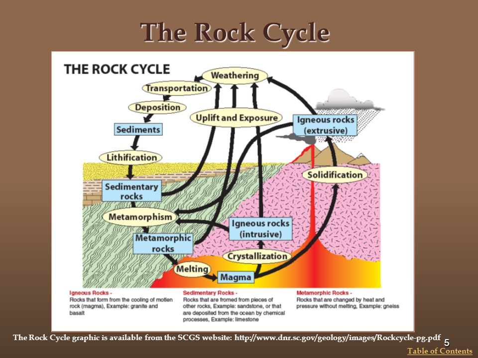 The Rock Cycle 5 Table of Contents The Rock Cycle graphic is available from the SCGS website: http://www.dnr.sc.gov/geology/images/Rockcycle-pg.pdf