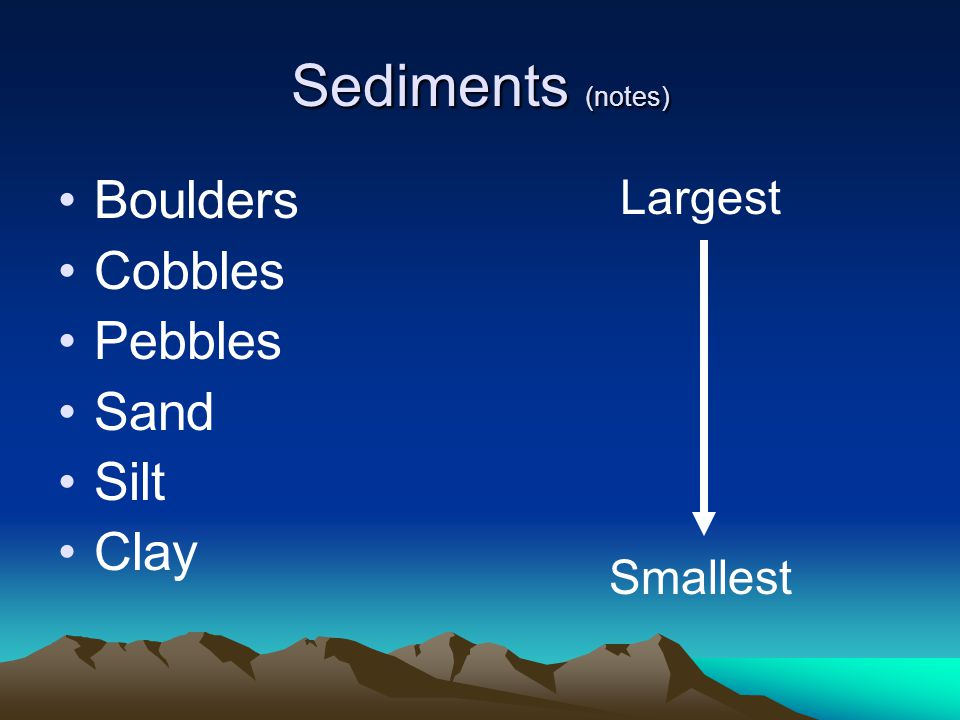 Sediments (notes) Boulders Cobbles Pebbles Sand Silt Clay Largest Smallest