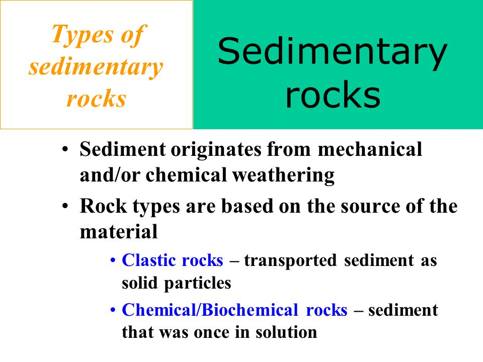 Types of sedimentary rocks Sediment originates from mechanical and/or chemical weathering Rock types are based on the source of the material Clastic rocks – transported sediment as solid particles Chemical/Biochemical rocks – sediment that was once in solution Sedimentary rocks