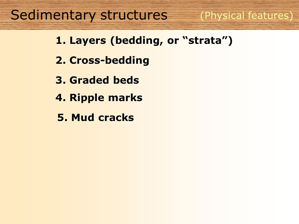 Sedimentary structures (Physical features) 1. Layers (bedding, or strata ) 2.
