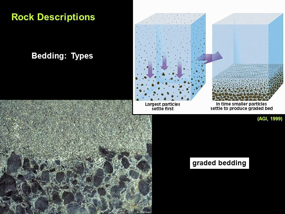 Rock Descriptions Bedding: Types graded bedding (AGI, 1999)