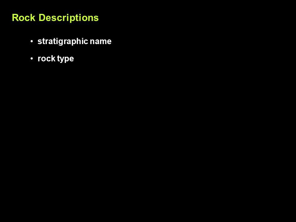 Rock Descriptions rock type stratigraphic name