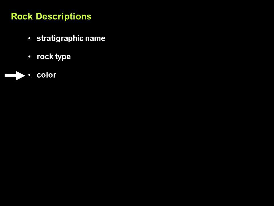 Rock Descriptions stratigraphic name rock type color